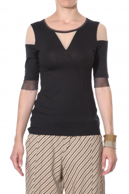 Jersey top with mesh V-neck