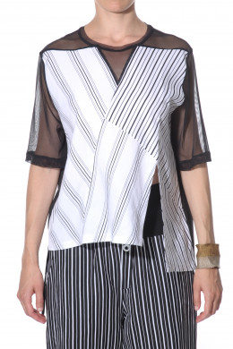 T-shirt blouse with mesh sleeves